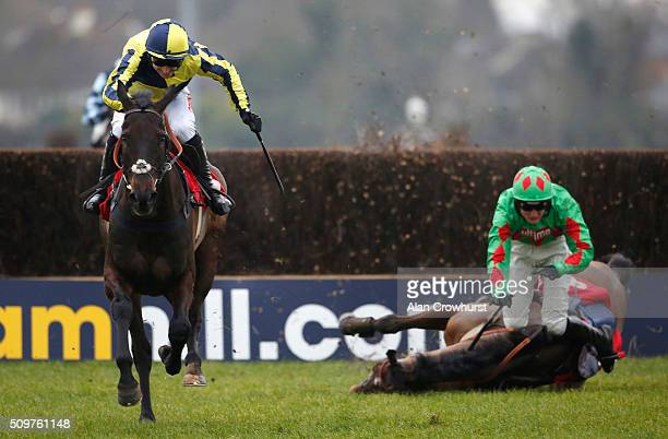 Paddy Brennan riding Always On The Run clear the last to win The Racing UK IN HD Next Month Novices' Limited Handicap Steeple Chase as Devil To Pay...