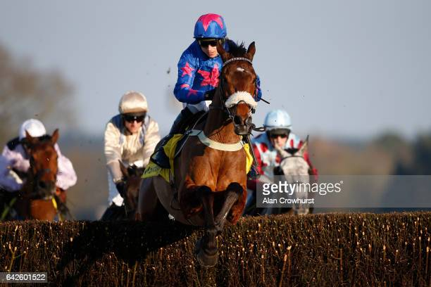 Paddy Brennan riding Cue Card on their way to winning The Betfair Ascot Steeple Chase at Ascot Racecourse on February 18 2017 in Ascot England
