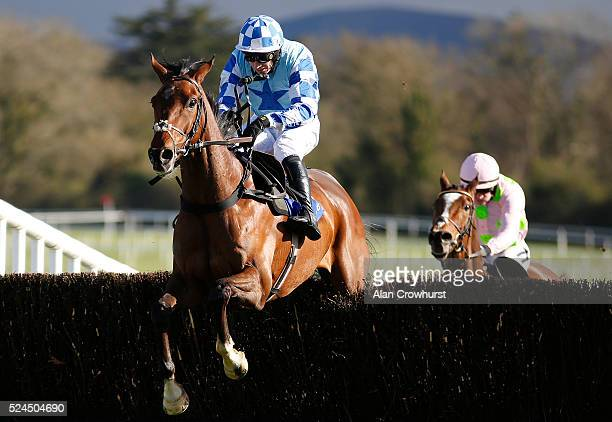 Paddy Brennan riding God's Own clear the last to win The Boylesports Champion Steeplechase from Vautour at Punchestown racecourse on April 26 2016 in...