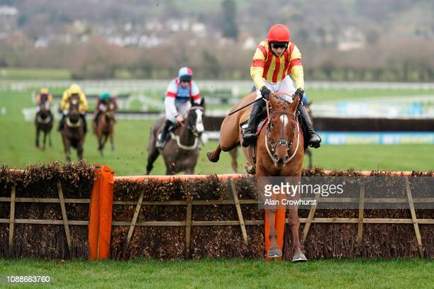 Paddy Brennan riding Jarveys Plate clear the last to win The Ballymore Novices' Hurdle Race at Cheltenham Racecourse on January 01 2019 in Cheltenham...