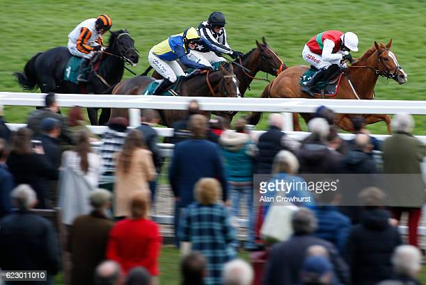 Paddy Brennan riding Poetic Rhythm win The Jockey Club Ownership Syndicate Standard Open National Hunt Flat Race at Cheltenham Racecourse on November...