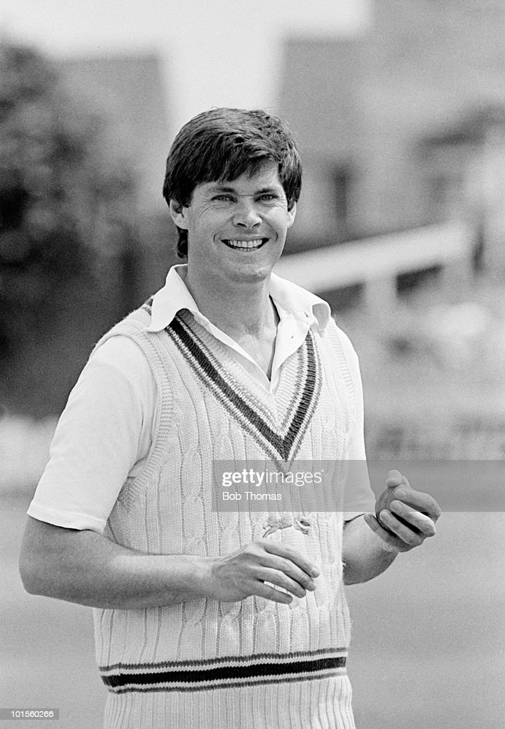 Paddy Clift of Leicestershire preparing to bowl for Leicestershire against Nottinghamshire in a John Player League cricket match held at Grace Road, Leicester on 30th July 1986. Nottinghamshire won by seven wickets. (Bob Thomas/Getty Images).