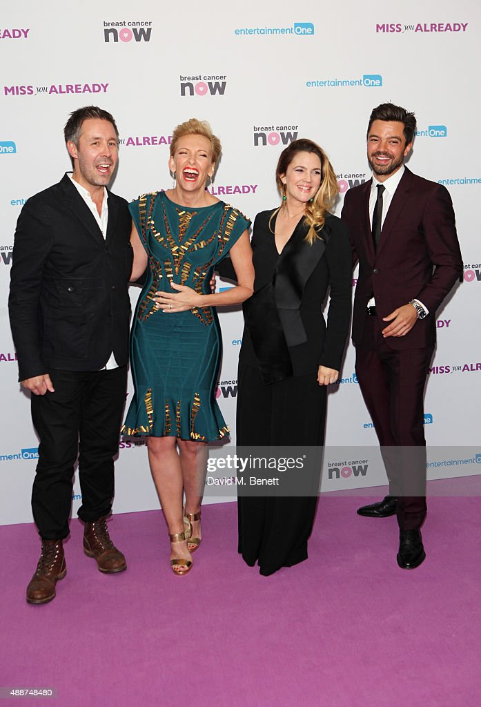 Paddy Considine, Toni Collette, Drew Barrymore and Dominic Cooper attend the European Premiere of 'Miss You Already' at Vue West End on September 17, 2015 in London, England.