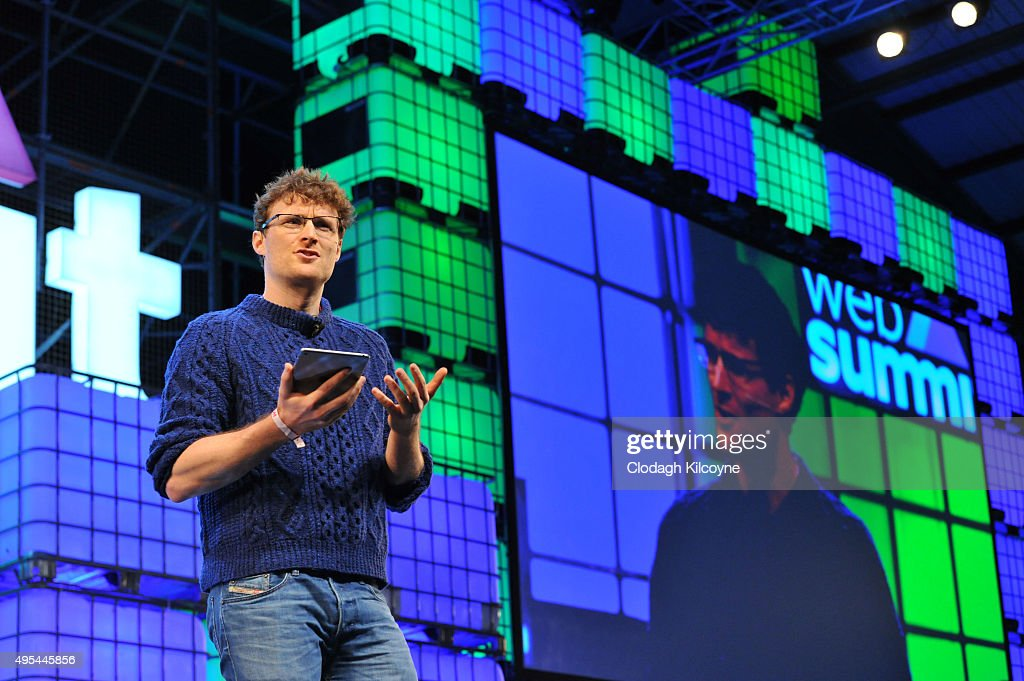 Paddy Cosgrave, founder of the Web Summit makes the opening remarks on stage during the first day of the 2015 Web Summit on November 3, 2015 in Dublin, Ireland. The Web Summit is now in it's 4th year and is technology's biggest gathering globally. In numbers, it has 42,000 attendees from 134 countries, 1,000 speakers, 2,100 startups and 1,200 media.