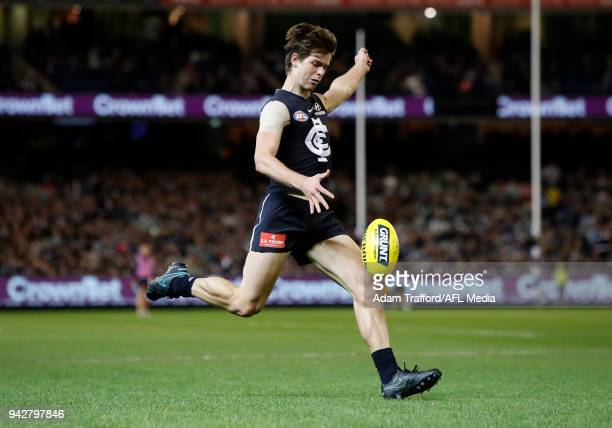 Paddy Dow of the Blues in action during the 2018 AFL round 03 match between the Carlton Blues and the Collingwood Magpies at the Melbourne Cricket...