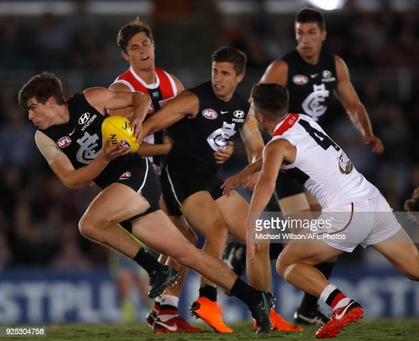 Paddy Dow of the Blues in action during the AFL 2018 JLT Community Series match between the Carlton Blues and the St Kilda Saints at Ikon Park on...