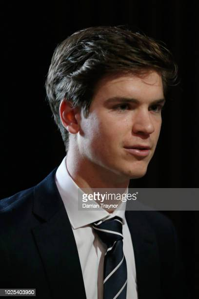 Paddy Dow of the Blues looks on during the 2018 AFL Rising Star Award at MAIA on August 31 2018 in Melbourne Australia