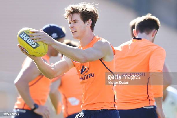 Paddy Dow of the Blues marks the ball during a Carlton Blues AFL training session at Ikon Park on March 19 2018 in Melbourne Australia