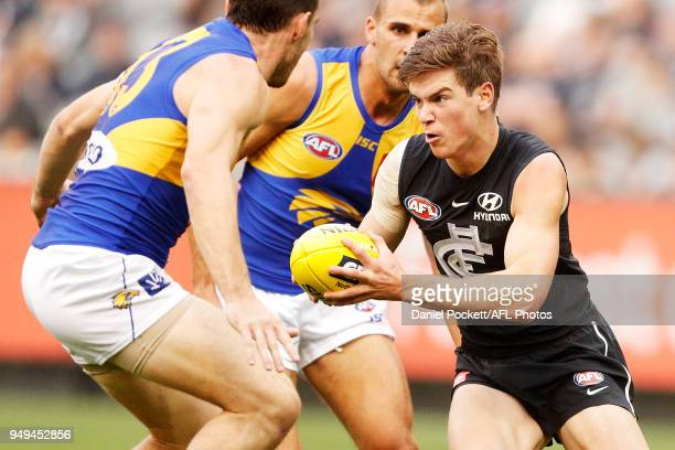 Paddy Dow of the Blues runs with the ball during the round five AFL match between the Carlton Blues and the West Coast Eagles at Melbourne Cricket...