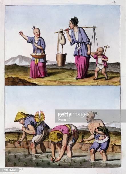 Paddy field planting rice Men are wearing hats of rice straw and one has ricestraw fan tucked in his belt Woman itinerant trader with child with...