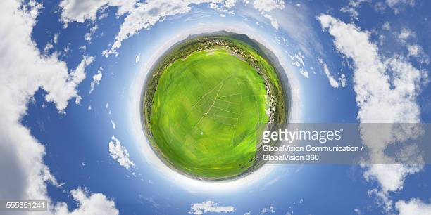 paddy fields seen in 360° - little planet format stock photos and pictures