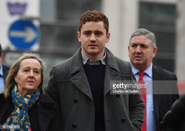 Paddy Jackson arrives at Belfast Laganside courts along with family members on March 5 2018 in Belfast Northern Ireland The Ireland and Ulster rugby...
