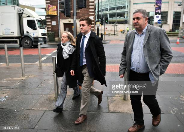 Paddy Jackson arrives at Belfast Laganside courts alongside family members on February 5 2018 in Belfast Northern Ireland The Ireland and Ulster...