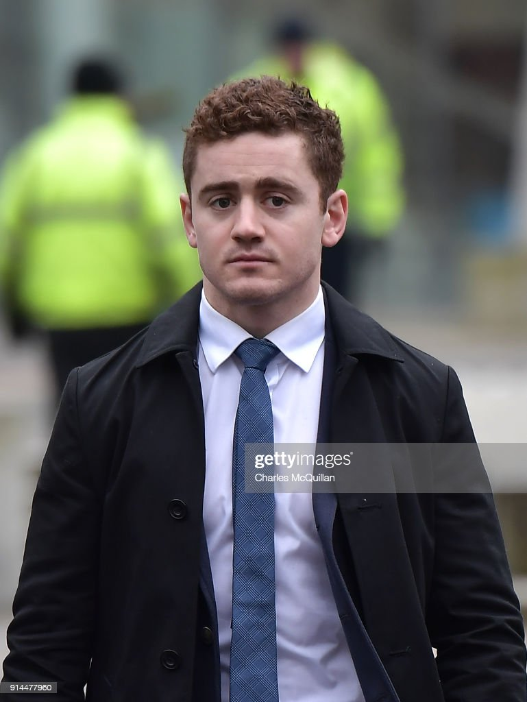 Paddy Jackson arrives at Belfast Laganside courts on February 5, 2018 in Belfast, Northern Ireland. The Ireland and Ulster rugby player is accused of raping a woman in June 2016 at a property in south Belfast along with fellow Ulster and Ireland international Stuart Olding. The case is expected to last another four weeks.