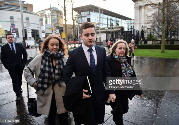Paddy Jackson arrives at Belfast Laganside courts with family members on January 29 2018 in Belfast Northern Ireland The Ireland and Ulster rugby...