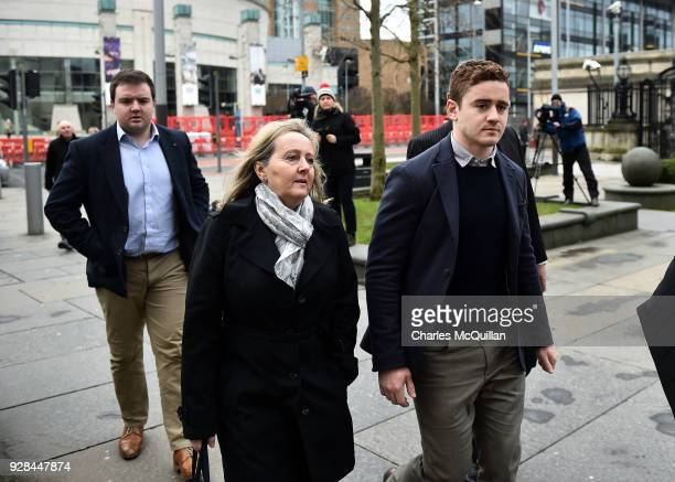 Paddy Jackson arrives with family members at Belfast Laganside courts on March 7 2018 in Belfast Northern Ireland The Ireland and Ulster rugby player...
