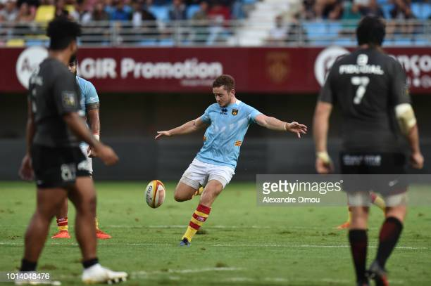 Paddy Jackson new player of Perpignan during the Test match between USAP Perpignan and Stade Toulousain on August 9 2018 in Perpignan France