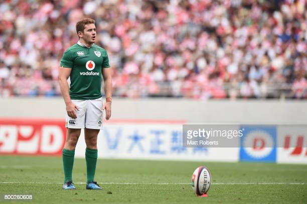 Paddy Jackson of Ireland prepares for a conversion attempt during the international rugby friendly match between Japan and Ireland at Ajinomoto...