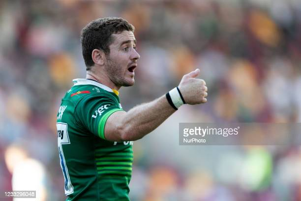 Paddy Jackson of London Irish gestures during the Gallagher Premiership match between London Irish and Wasps at the Brentford Community Stadium,...
