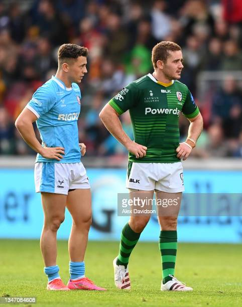 Paddy Jackson of London Irish reacts after missing a dropgoal to win the game during the Gallagher Premiership Rugby match between London Irish and...