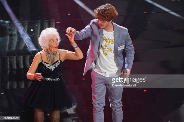 Paddy Jones and Lo Stato Sociale attend the third night of the 68 Sanremo Music Festival on February 8 2018 in Sanremo Italy