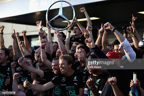 Paddy Lowe the Executive Director of Mercedes GP Lewis Hamilton of Great Britain and Mercedes GP Nico Rosberg of Germany and Mercedes GP and Niki...