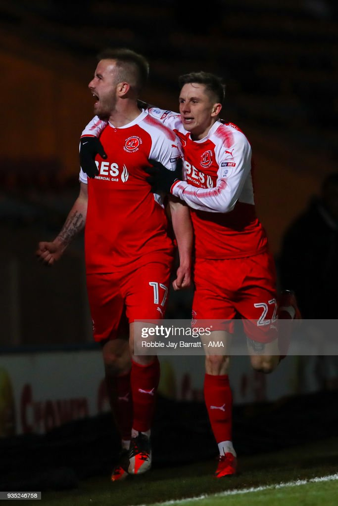 Paddy Madden of Fleetwood Town celebrates after scoring a goal to make it 0-1 during the Sky Bet League One match between Rochdale and Fleetwood Town at Spotland Stadium on March 20, 2018 in Rochdale, England.