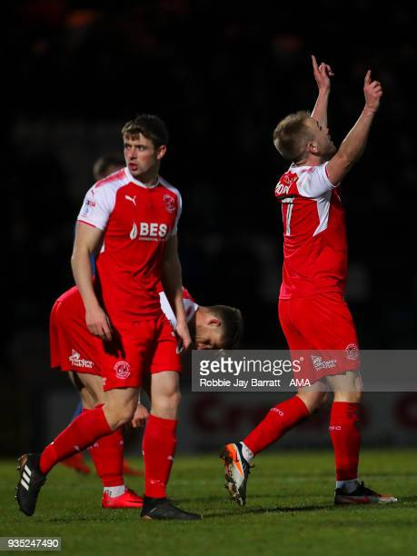 Paddy Madden of Fleetwood Town celebrates after scoring a goal to make it 01 during the Sky Bet League One match between Rochdale and Fleetwood Town...