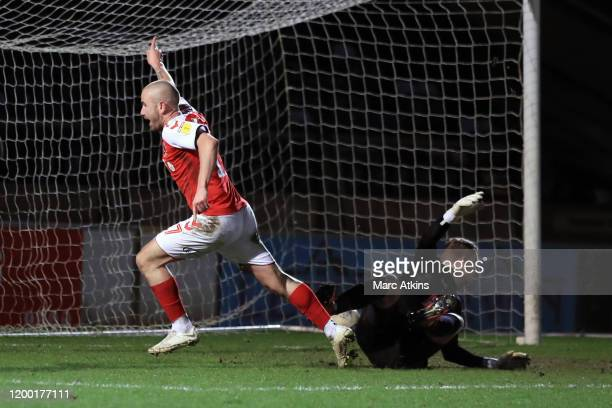 Paddy Madden of Fleetwood Town scores the opening goal during the Sky Bet Leauge One match between Wycombe Wanderers and Fleetwood Town at Adams Park...