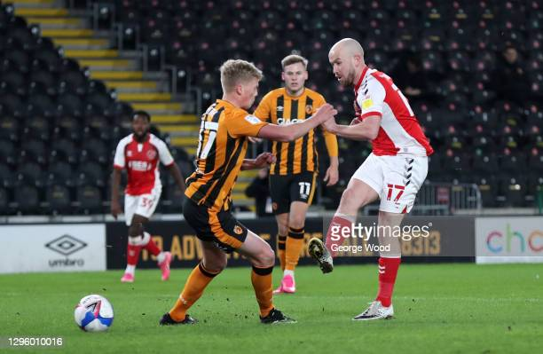 Paddy Madden of Fleetwood Town scores their team's first goal during the Papa John's Trophy match between Hull City and Fleetwood town at KCOM...