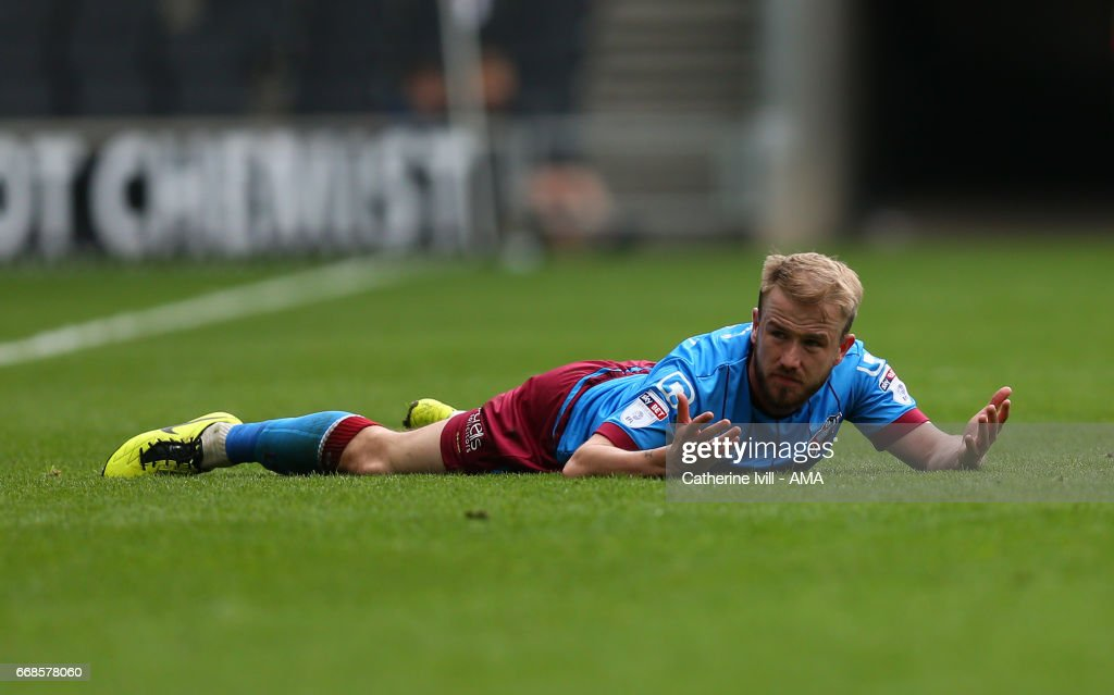 Paddy Madden of Scunthorpe United during the Sky Bet League One match between MK Dons and Scunthorpe United at StadiumMK on April 14, 2017 in Milton Keynes, England.