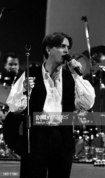 Paddy McAloon of Prefab Sprout performs on stage in London United Kingdom 1990