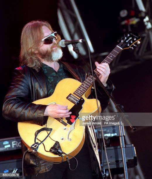 Paddy McAloon singer and guitarist with the pop band Prefab Sprout performing on stage at The Fleadh music festival in Finsbury Park central London...