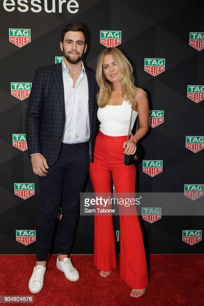 Paddy McCartin and Lucy Brownless attends the TAG Heuer Grand Prix Party on March 20 2018 in Melbourne Australia