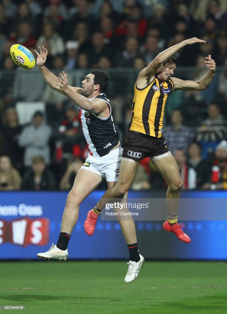 Paddy McCartin of the Saints and Ryan Burton of the Hawks compete for the ball during the Round six AFL match between the Hawthorn Hawks and the St Kilda Saints at University of Tasmania Stadium on April 28, 2018 in Launceston, Australia.