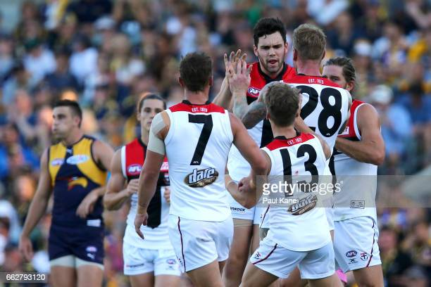 Paddy McCartin of the Saints celebrates a goal during the round two AFL match between the West Coast Eagles and the St Kilda Saints at Domain Stadium...