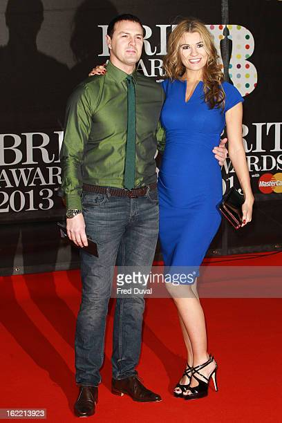 Paddy McGuinness and Christine McGuinness attend the Brit Awards at 02 Arena on February 20 2013 in London England