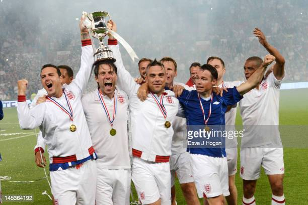 Paddy McGuinness John Bishop Robbie Williams Graeme Le Saux and Des Walker attend Soccer Aid 2012 in aid of Unicef at Old Trafford on May 27 2012 in...