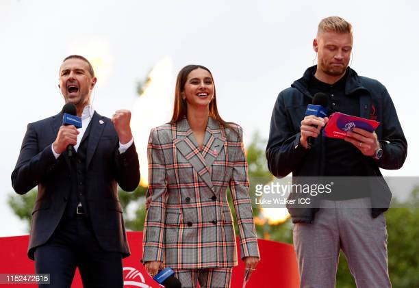 Paddy McGuinness, Shibani Dandekar and Andrew Flintoff look on during the ICC Cricket World Cup 2019 Opening Party at The Mall on May 29, 2019 in...