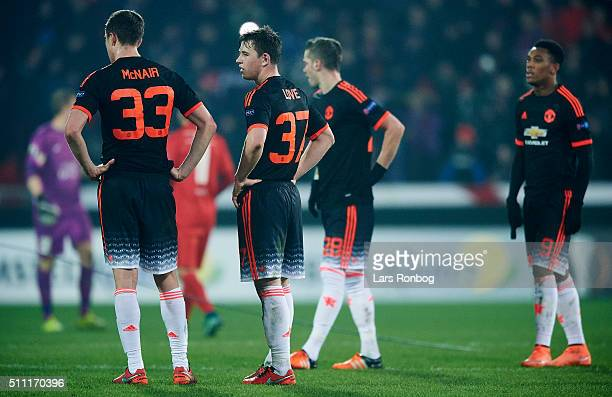Paddy McNair and Donald Love of Manchester United looks dejected after the UEFA Europa League match between FC Midtjylland and Manchester United at...
