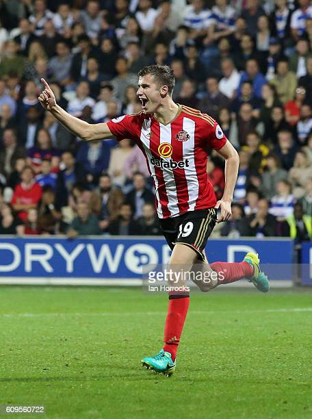 Paddy McNair celebrates scoring the second Sunderland goal during the EFL Cup third round match between Queens Park Rangers and Sunderland AFC at...