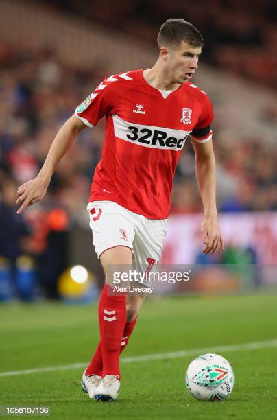 Paddy McNair of Middlesbrough controls the ball during the Carabao Cup Fourth Round match between Middlesbrough and Crystal Palace at Riverside...