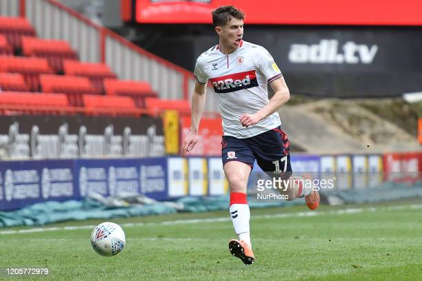 Paddy McNair of Middlesbrough in action during the Sky Bet Championship match between Charlton Athletic and Middlesbrough at The Valley London on...