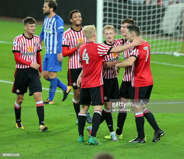 Paddy McNair of Sunderland celebrates scoring the opening goal during the Premier League International Cup match between Sunderland U23 and Hertha...