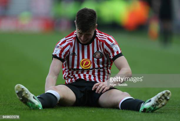 Paddy McNair of Sunderland reacts during the Sky Bet Championship match between Sunderland and Burton Albion at Stadium of Light on April 21 2018 in...