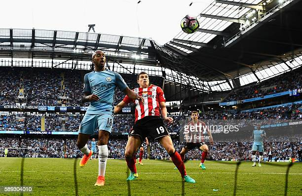 Paddy McNair of Sunderland scores a goal own for Manchester City's second goal during the Premier League match between Manchester City and Sunderland...