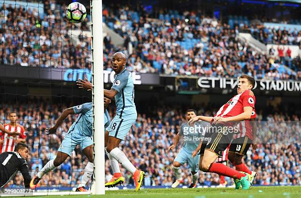 Paddy McNair of Sunderland scores a own goal for Manchester City's second goal during the Premier League match between Manchester City and Sunderland...