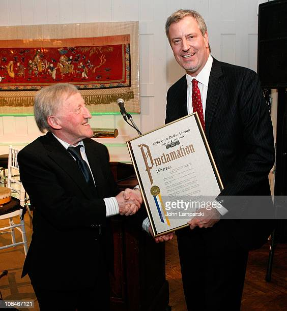 Paddy Moloney and Public Advocate Bill de Blasio attend the Gold Medal of Honor for Lifetime Achievement in Music at The National Arts Club on...