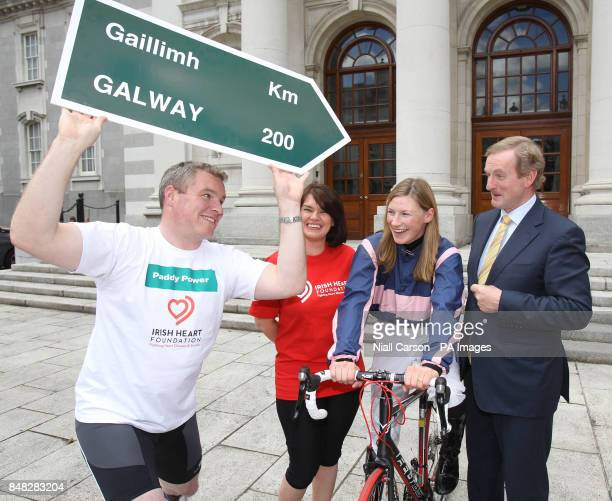 Paddy Power Grainne Kennedy from the Irish Heart Foundation Jockey Nina Carberry and Taoiseach Enda Kenny outside Government Buildings Dublin at the...