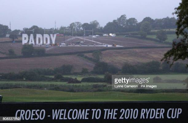 A Paddy Power sign is constructed on a rented site next to the Celtic Manor Resort at Celtic Manor Newport